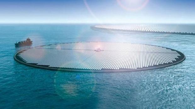 Ilhas solares flutuantes formariam grandes fazendas no mar que neutralizariam todo o CO2 emitido pelo setor de transporte no mundo todo. [Imagem: Novaton]