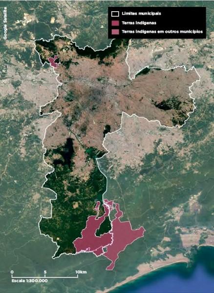 Mapa mostra terras indígenas em São Paulo e municípios ao redor