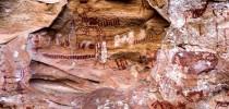 Figuras rupestres descobertas no Parque Nacional da Serra da Capivara.