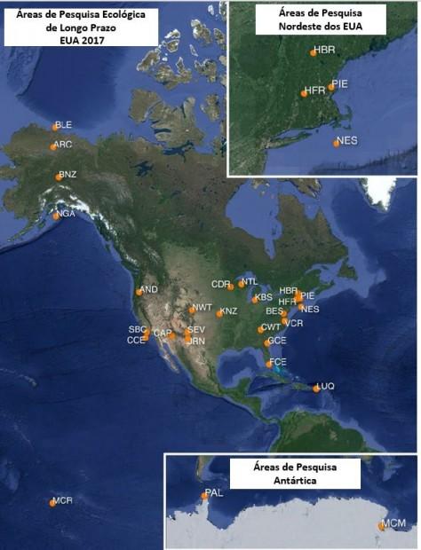 Locais da rede de Pesquisa Ecológica de Longo Prazo dos EUA, identificados por suas siglas. LTER
