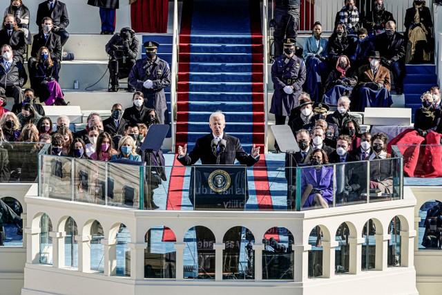 Joe Biden discursando na posse como presidente dos EUA.