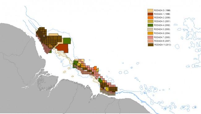 Localização dos blocos ofertados para exploração de gás e petróleo na região da foz do Amazonas. Crédito: Laís Araújo/UFRJ; com dados da Agência Nacional do Petróleo
