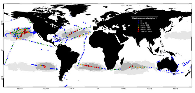 Concentrations of plastic debris in surface waters of the global ocean