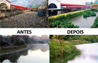 O antes e o depois do Canal Paco e da comunidade local,. após a despoluição.