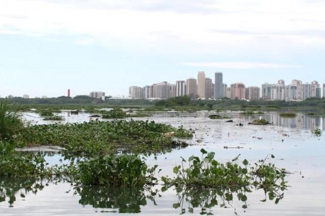 A Lagoa da Tijuca sufocando em 6.5 milhões de metros cúbicos de lixo e sedimentos /Foto: Mario Moscatelli