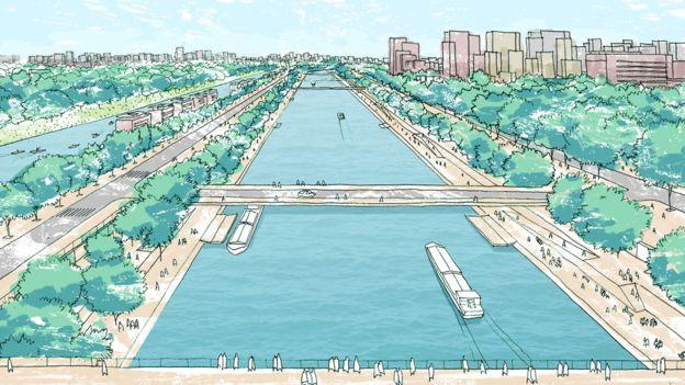 O projeto de hidrovias urbanas seria implementado ao longo de 38 anos | Ilustração: Coletivo oitentaedois, com base na perspectiva artística de Bhakta Krpa para a pesquisa de mestrado de Eloísa Ikeda