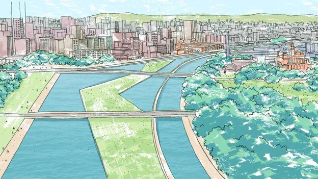 Os sistema viário seria mais eficiente e um lago resolveria o problema das enchentes | Ilustração: Coletivo oitentaedois