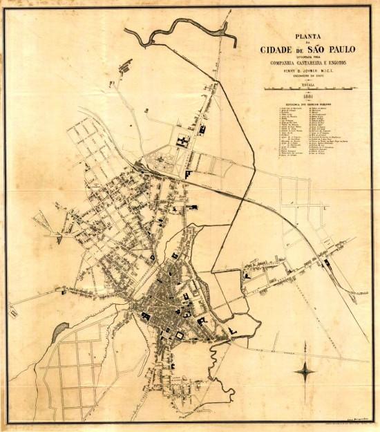 Planta da cidade de São Paulo de 1881, levantada pela Companhia Cantareira e Esgotos. Foto: Divulgação