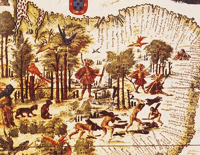 """""""Terra Brasilis"""" (1519). Mapa por Pedro Reinel e Lopo Homem, Atlas Miller, Biblioteca Nacional de Paris - Exploração do pau-brasil"""