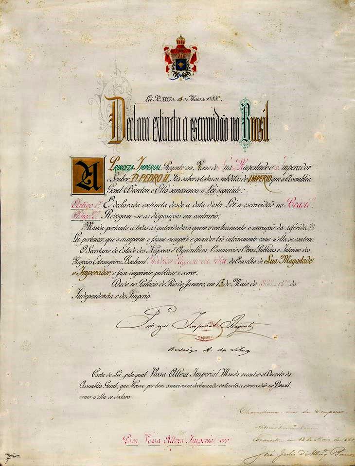 Lei Áurea, que aboliu a escravatura no Brasil