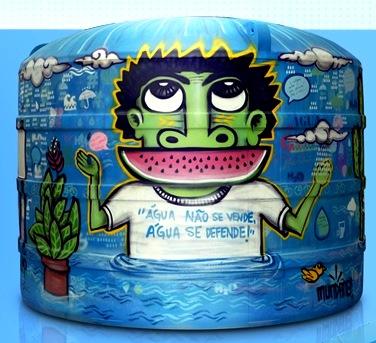 O tanque da Acqualimp, grafitado durante o Coca-Cola Verdes Ventos, será doado ao Instituto Verdescola