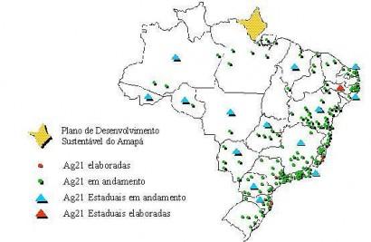 Mapa das Agendas 21 Locais no Brasil em 2002. Ficaram só no papel (foto MMA)