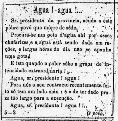 """Jornal """"A Província de SP"""" de 01/01/1876, já pedia áua para a cidade."""