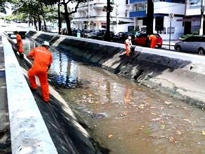Operários fazem a limpeza de lixo e peixes mortos nos canais da cidade de Santos.