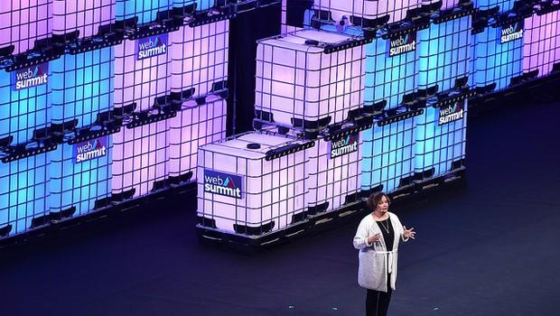 Lisa Jackson, vice-presidente da Meio Ambiente, Politicas e iniciativas sociais da Apple durante a Web-Summit 2018 (Foto Sam Barnes via Sportfile)