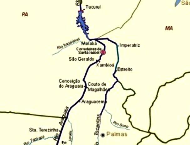 Bacia do Tocantins-Araguaia e a área escolhida para o projeto da Usina Hidrelétrica de Santa Isabel, à montante de outro projeto já realizado - Tucuruí