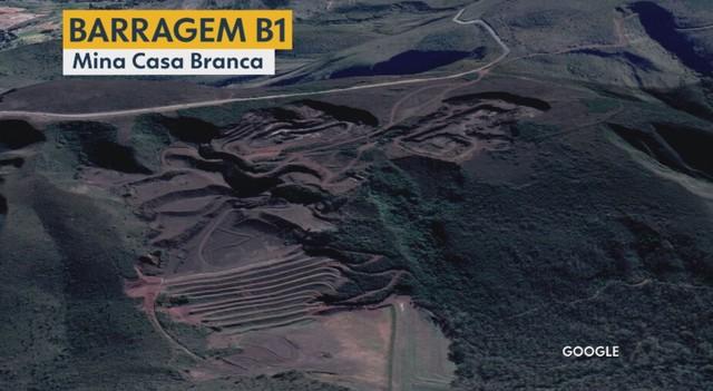 Imagem de satélite mostra área de barragem da Mina Casa Branca, em Brumadinho — Foto: Reprodução / TV Globo