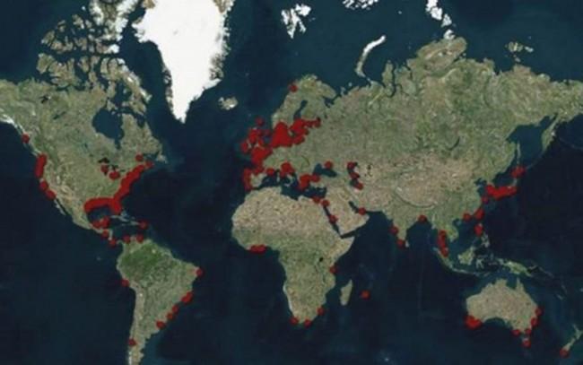 As 'zonas mortas', áreas com baixo nível de oxigênio, estão localizadas fundamentalmente nas costas (Foto: Water Resources Institute)