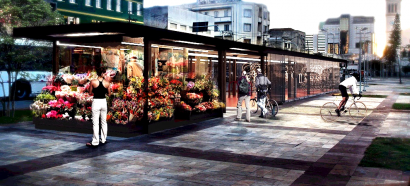 Maquete do bicicletário do Largo da Batata a ser inaugurado até final de julho.
