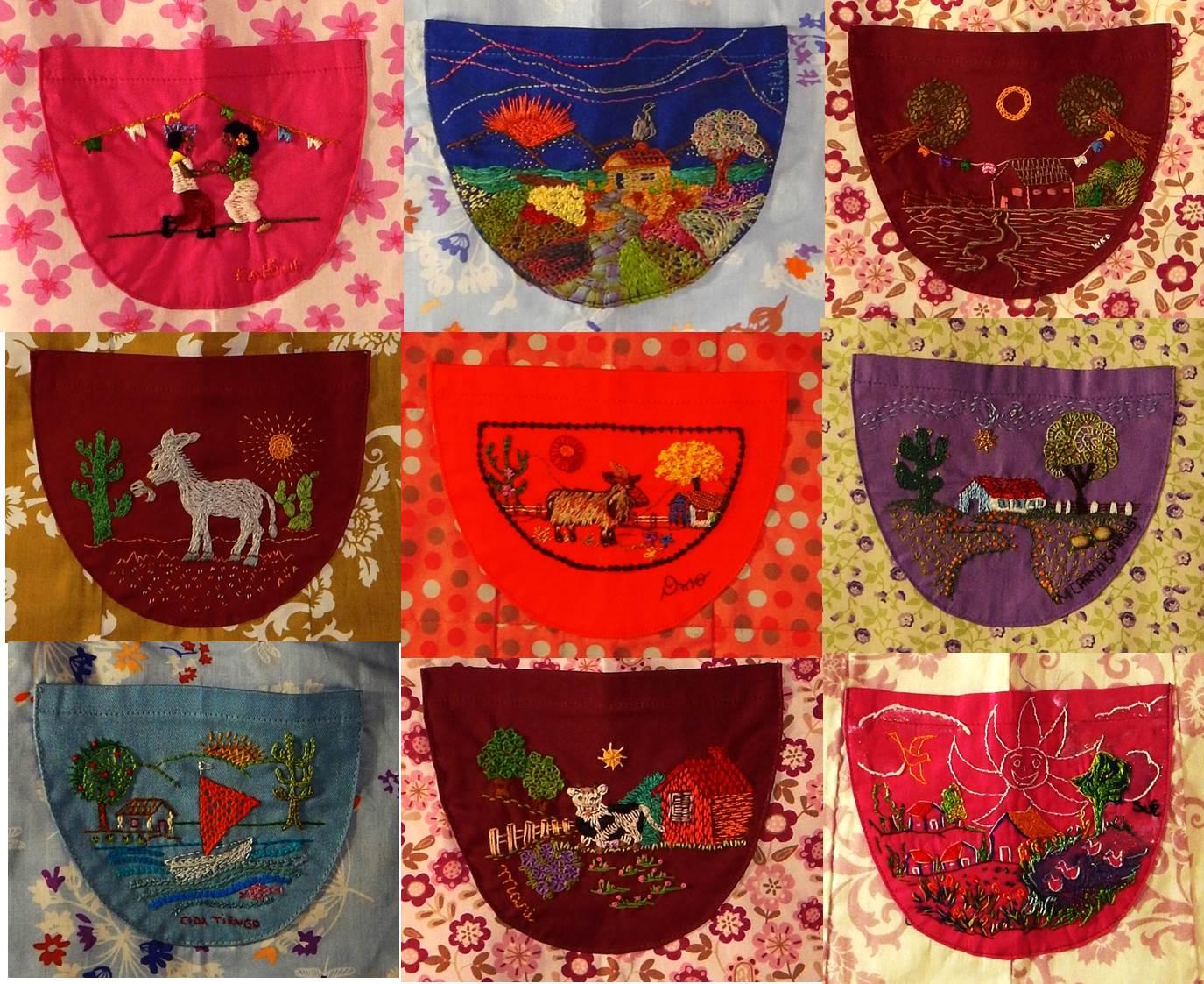 Detalhes dos bordados dos bolsinhos desenhados por Marta Jungman