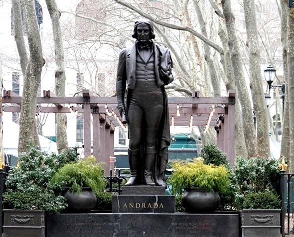 """Estátua de José Bonifácio no Bryant Park em Nova Iorque, conhecida como """"Andrada"""", é ponto de referência do local."""
