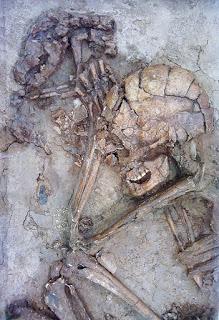 Abraçados, um homem e seu cão foram sepultados juntos. Esqueletos de 12 mil anos encontrados em Israel.