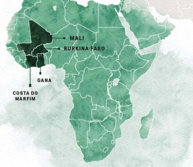 Os vizinhos Costa do Marfim e Gana produzem 65% do cacau consumido no mundo – boa parte da produção, infelizmente, é feita com trabalho escravo de crianças traficadas de Mali e de Burkina Faso. (Marcus Penna/Superinteressante)