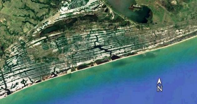 Campo de restingas no litoral do estado do Rio de Janeiro – município de Macaé. Notar a nítida diferenciação (cordões paralelos à praia) de paisagens em relação ao campo de dunas mostrado na foto anterior.