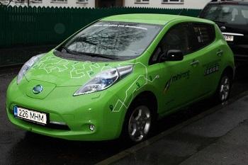 Modelo elétrico Nissan Leaf  já é táxi em Tallinn, Estônia (foto) e agora também está em São Paulo. Imagem: Reprodução/Internet