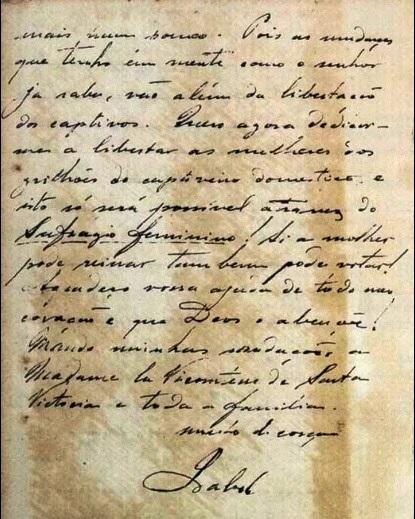 Trecho final da carta da Princesa Isabel.