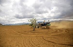 Trator faz semeadura direta de espécies de árvores, arbustos e ervas em experimento no Parque Nacional da Chapada dos Veadeiros, em novembro de 2016 (Fernando Tatagiba)