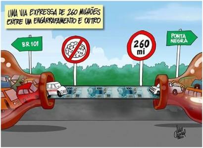 Charge criticando a obra de reestruturação da Avenida Eng. Roberto Freire, em Natal. Fonte: Ivan Cabral.