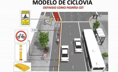 Modelo de ciclovia da Prefeitura de São Paulo