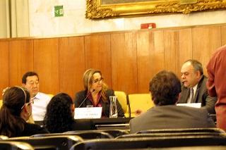Laurence Casagrande (3º da esquerda para a direita) fala à Comissão de Meio Ambiente (Imagem: Divulgação/Aurélio Nomura)