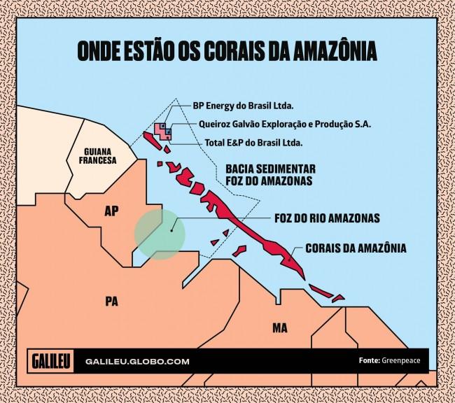 Mapa dos corais da Amazônia