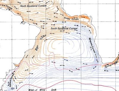 Corrente marítima - revela que o descarte criminoso pode ter se realizado em plena corrente equatorial sul - dispersando-se na costa brasileira ao sul e ao norte