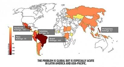 Mapa dos crimes ambientas da ONG Global Witness