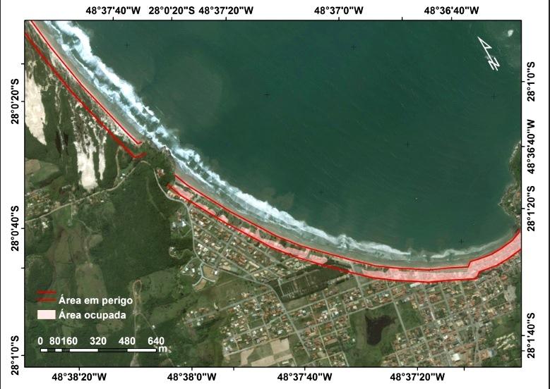 Delimitação da ocupação na área de perigo em Santa Catarina