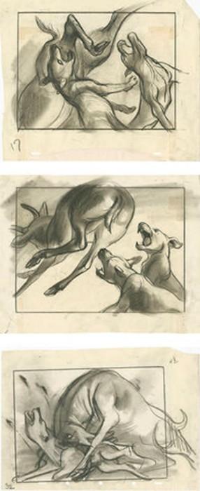 Um dos esboços de Retta Scott para 'Bambi' (1942). Via The Walt Disney Family Museum