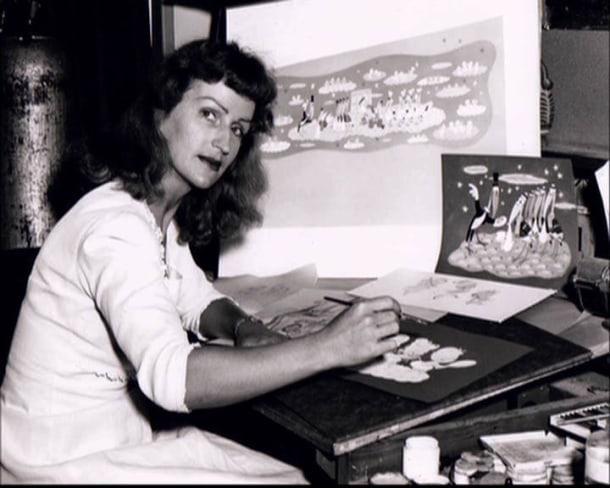 Retrato de Mary Blair trabalhando. Imagem via IMDb