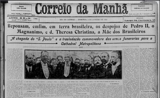Jornal noticiando a chegada dos despojos de Dom Pedro II e sua esposa, ao Brasil