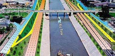 Ilustração sobre o projeto da Eclusa da Penha. 14 km do rio Tietê serão retificados para o projeto. (Imagem: Reprodução)