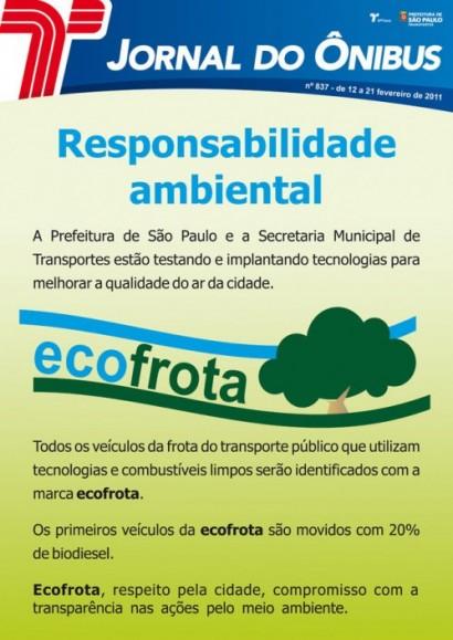 Cartaz de divulgação do Ecofrota em fevereiro de 2011.
