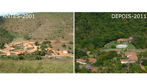 Com intervalo de pouco mais de uma década, dois momentos da Fazenda Bulcão, da família Salgado: o antes e o depois provam que é possível fazer ressurgir a vida em um ambiente devastado   Reprodução