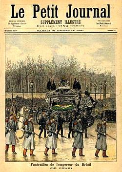 Funeral de D. Pedro II noticiado na capa do Le Petit Journal um dia após sua morte