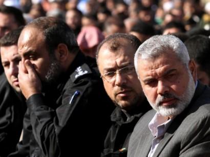 Líderes do Hamas na faixa de Gaza - Ismail  Haniyeh e Musa Abu Marzuk