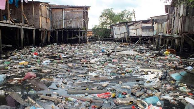 lixo acumulado no estuário de Santos, litoral de São Paulo