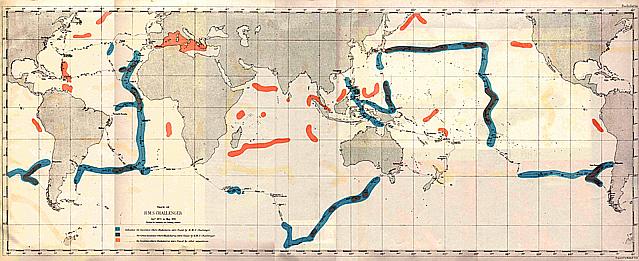 Mapa da viagem do Challenger (desenho: www.19centuryscience.org)