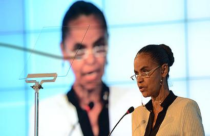 Marina Silva durante conferência no Fórum Panrotas. (Foto: Portal Panrotas)