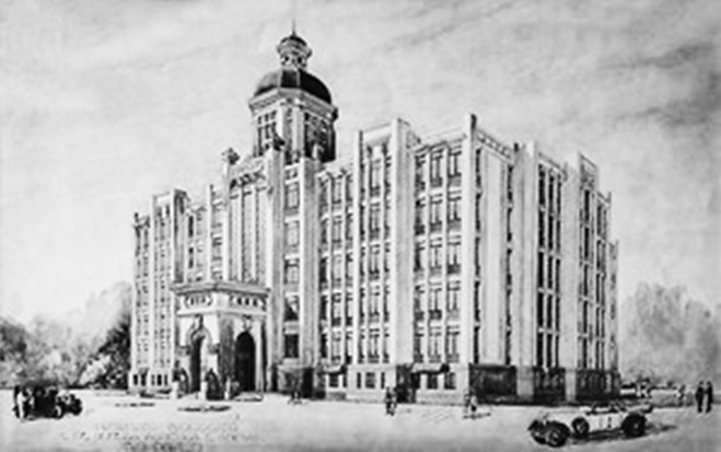 Perspectiva artística do prédio feita pelo engenheiro Mário Whately (reprodução InstBio)